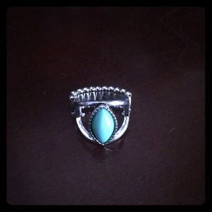 Silver color faux turquoise ring